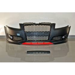 FRONT BUMPER AUDI A3 2005-2008 LOOK RS3 BLACK RED FOG LAMPS