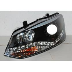 Set Of Headlamps Day Light Volkswagen Polo 2010 Black