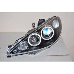 Set Of Headlamps Angel Eyes Peugeot 206 2003 Black