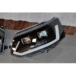 Set Of Headlamps Day Light Volkswagen T5 09-16 Xenon DRL Black