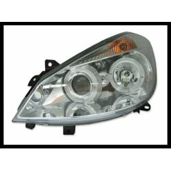 Set Of Headlamps Angel Eyes Renault Clio 2005, Chromed
