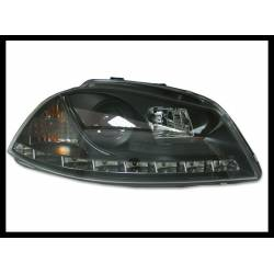 Set Of Headlamps Day Light Seat Ibiza 2002-2007 Black