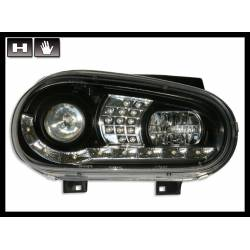 Set Of Headlamps Day Light Volkswagen Golf 4 Black & Blinker Led