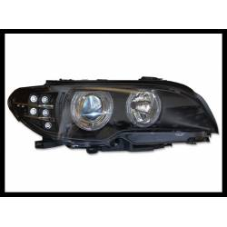 SET OF HEADLAMPS DAY LIGHT BMW E46 2003-2005 2-DOOR BLACK & BLINKER LED