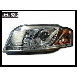 SET OF HEADLAMPS DAY LIGHT AUDI A3 2003-2008 MODEL II, CHROMED