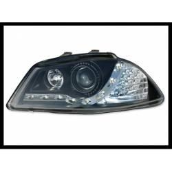 SET OF HEADLAMPS DAY LIGHT SEAT IBIZA 2002-2007 BLACK & BLINKER LED