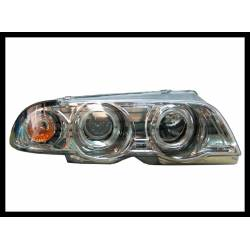 SET OF HEADLAMPS ANGEL EYES BMW E46 1998-2001, 4 DOORS, CHROMED