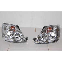 Set Of Headlamps Angel Eyes Ford Fiesta 2002-2008, Chromed