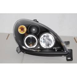Set Of Headlamps Angel Eyes Citroen Xsara 2000 Black With Fog Lamps