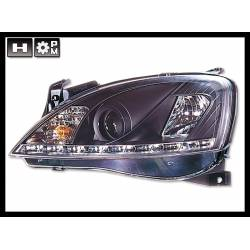Set Of Headlamps Real Day Light Opel Corsa C Black