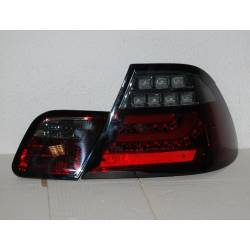 SET OF REAR TAIL LIGHTS BMW E46 2003-2005 2-DOOR LED RED/SMOKED FLASHING LED CARDNA