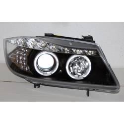 Set Of Headlamps Day Light BMW E90 2005 Black & Blinker Led