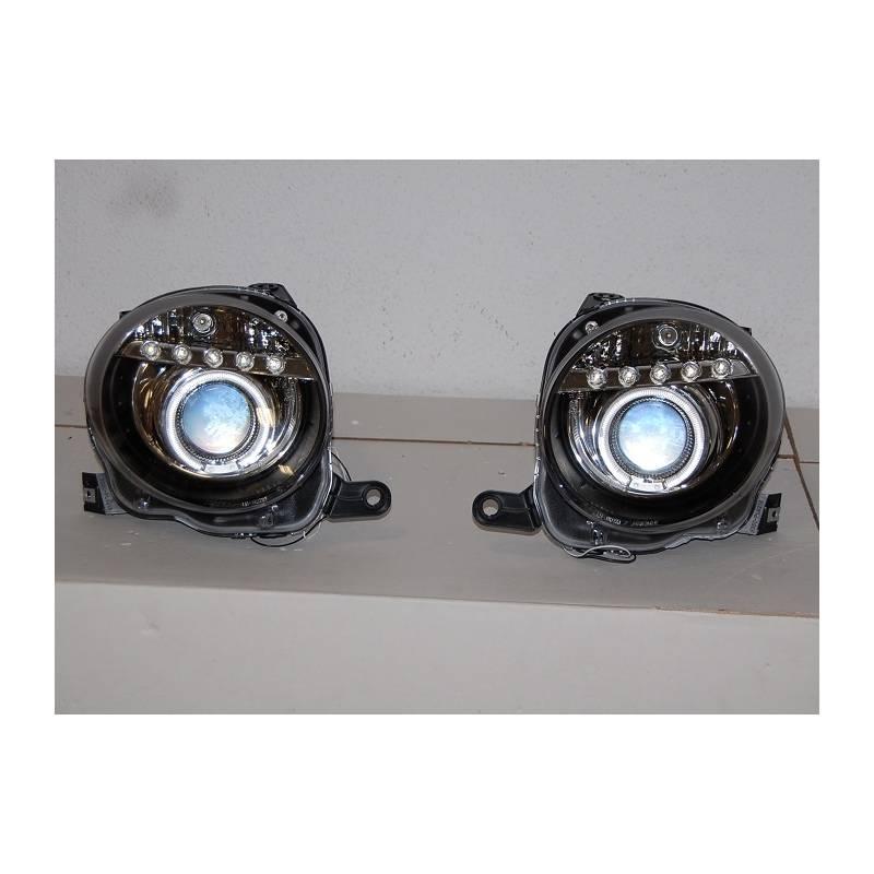 Set Of Headlamps Day Light Fiat 500 Black