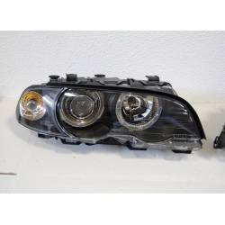 SET OF HEADLAMPS ANGEL EYES BMW E46 1998-2001, 2 DOORS, BLACK