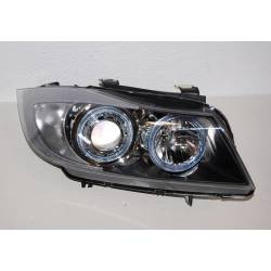 Set Of Headlamps Angel Eyes BMW E90 2005 Black