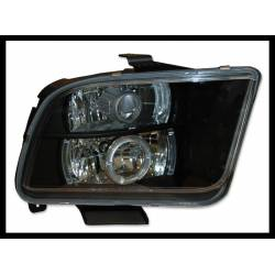 Set Of Headlamps Angel Eyes Ford Mustang 2005, Black