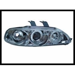 Set Of Headlamps Angel Eyes Honda Civic 1992-1995, 3 Doors, Chromed